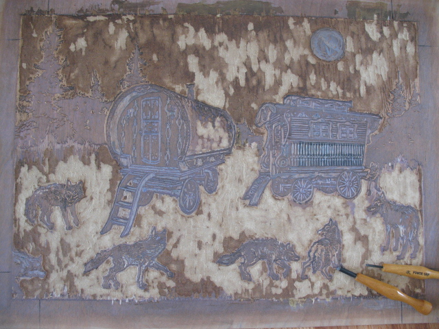 A carved woodblock.
