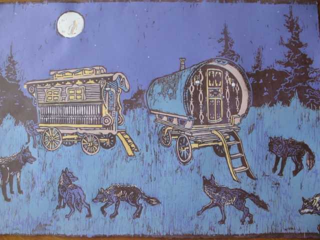 A 7-color reduction print of a gypsy caravan.