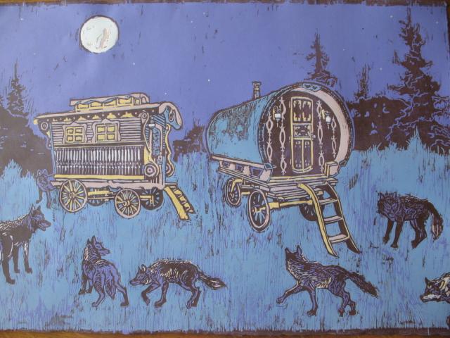 A 7-color reduction print of a gypsy caravan.
