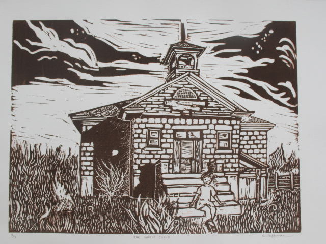 A linoleum block print of the old Valmont School House in Colorado.