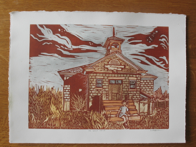 A print with the addition of watercolors.