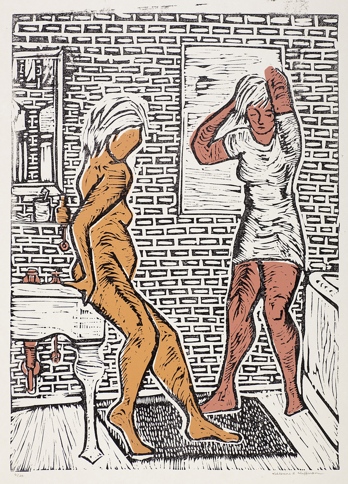 A woodblock print of two girls with a silk-screen overlay. I made this a few years back, in 2010.