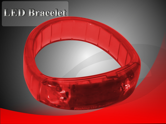 Red LED Bracelet for better visibility (3 blinking speeds)