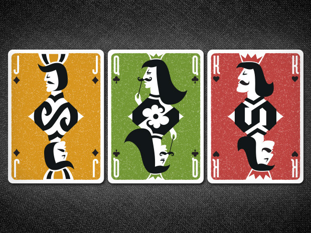 Some of the court cards (Jack of diamonds, Queen of clubs, King of hearts)