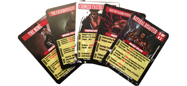 And here are the promo Villains (not in the final card template)!  Art by Lea Segarra.