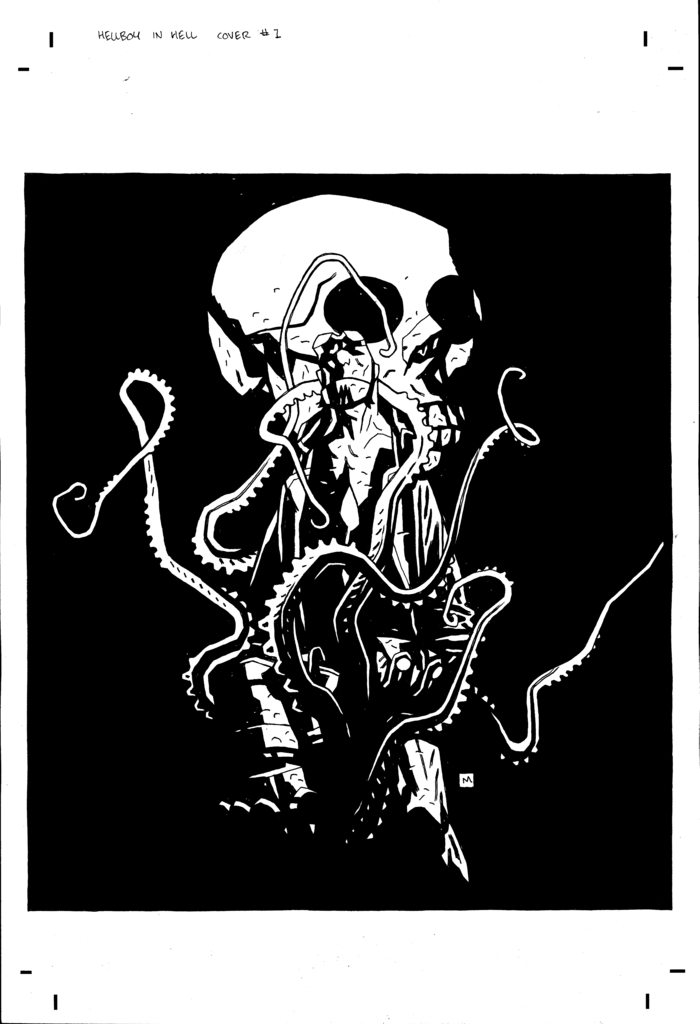 Mike Mignola Original Hellboy In Hell #1 Unpublished Cover Art (10.5 x 12 art on 11 x 17-inch paper)