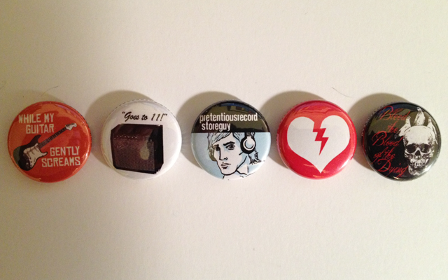 This is the Pretentious Record Store Guy button set so that you can stay buttoned up.