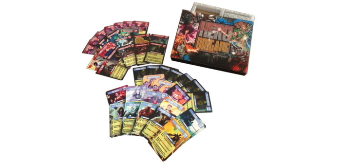 The Hero Brigade prototype featuring the Hero and Villain Decks (not the final card template or box art).