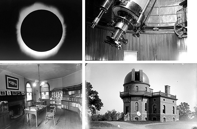 Clockwise from top left: An image taken from the Observatory of the solar eclipse of June 24th, 1924; Telescope micrometer detail; The library room, circa 1898; Exterior of the Observatory in 1904, printed from a glass plate negative.