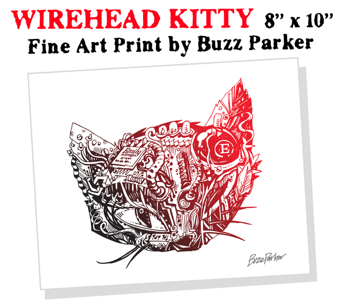 $50 REWARD KITTY PRINT by Buzz Parker. Check out what makes this kitty purr... there's a lot going on in that furr-brain!