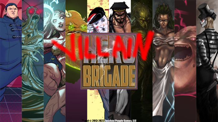 Base and promotional art for the Villains of Hero Brigade. Both will be included in the game at $35k!