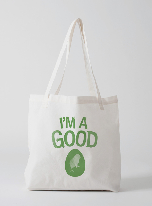 """I'm a Good Egg"" canvas tote"