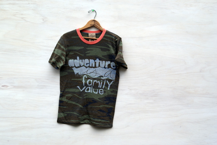 Adventure Is A Family Value, white ink on camo tee