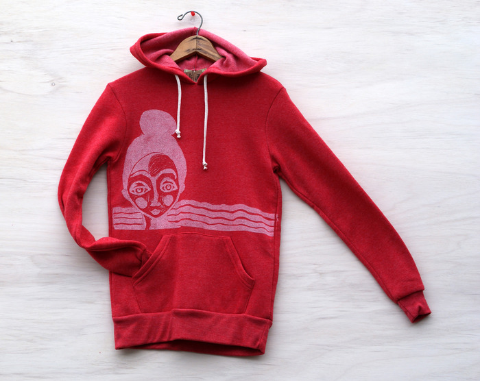 Topknot Girl hoodie in red