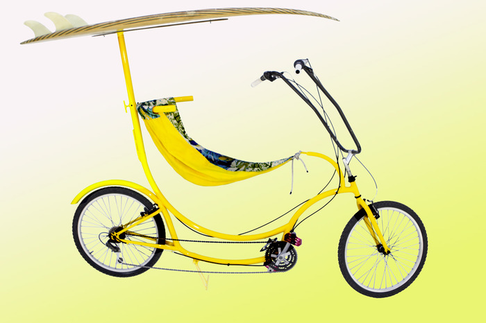 BanananHama Yellow Cruiser with Surf Board attachment