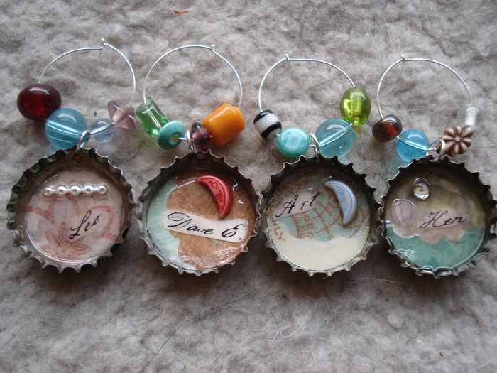 Handmade custom wine glass charms by Leah Angstman