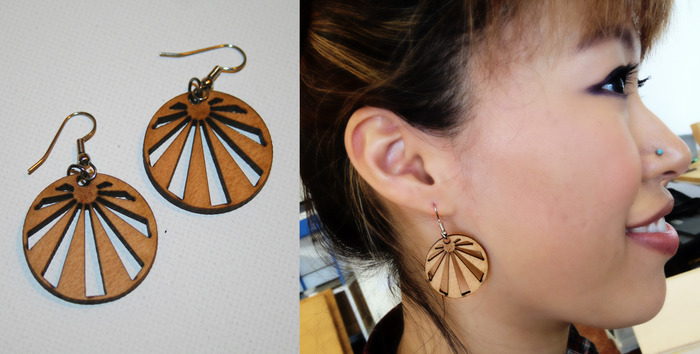 (reward) REPURPOSED EARRINGS  made from old wooden blinds, laser cut with the project logo