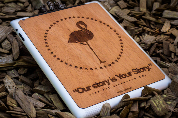 "NEW!!! Pledge $200 or More - Receive an Exclusive ""Our Story is Your Story"" iPad cover. Laser cut & hand sanded walnut wood. Fits all iPads. + Your choice of LifE KiT Bracelet."