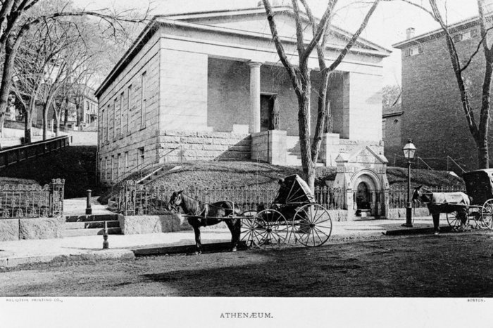 Exterior view of the Providence Athenaeum Library, circa 1880.
