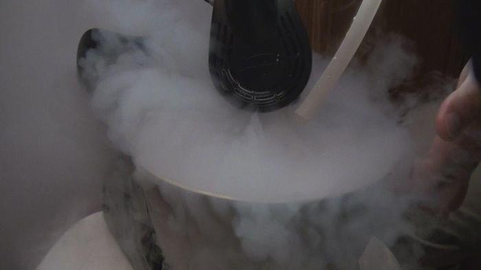 Liquid nitrogen evaporating when entering room temperatures.