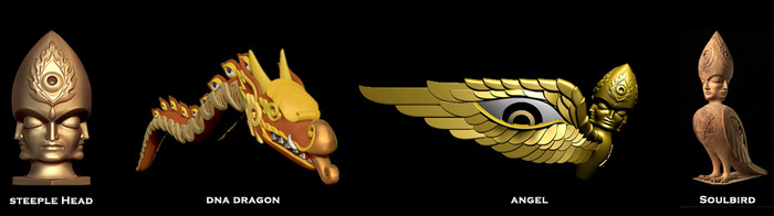 Steeple Head, DNA Dragon, Angel, Soulbird