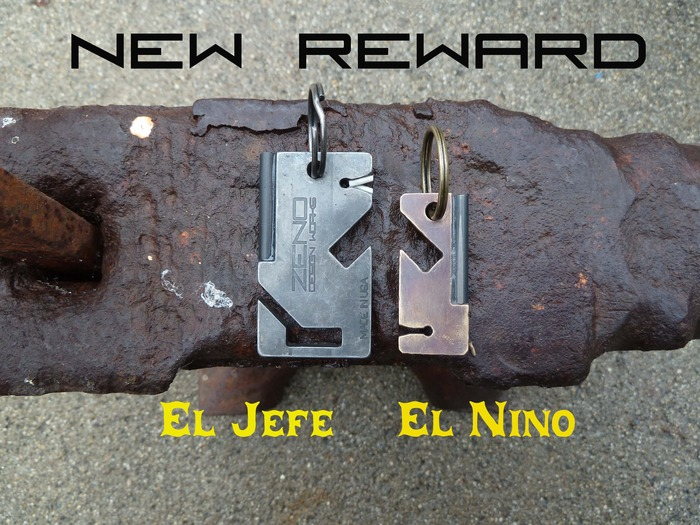 El Jefe's little brother El Nino . We realize that not everyone has a belt loop that they want to hang their keys from so we decided to make a little brother for those of you who want to be able to open a bottle, start a fire and sharpen your knife.