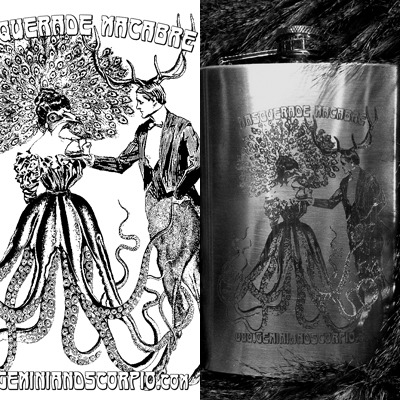 $40 Masquerade Macabre flask, with a collage created by Miss Scorpio from old engraving images