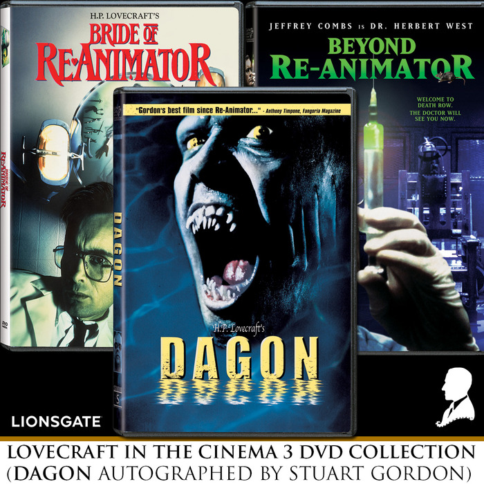 LOVECRAFT IN THE CINEMA PACKAGE: Includes ALL THREE films pictured, and more! *Dagon DVD will be autographed by director Stuart Gordon!