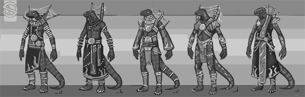 Initial concepts of another of our puzzle-enemies, The Sarahul Seer.