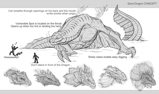 Concept of one of our puzzle-enemies, The Sand Dragon.