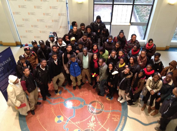 With students at Schomburg Center For Research In Black Culture, Harlem, USA