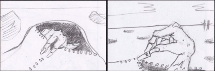 Storyboard from the film - zombies unzipping their own body bags