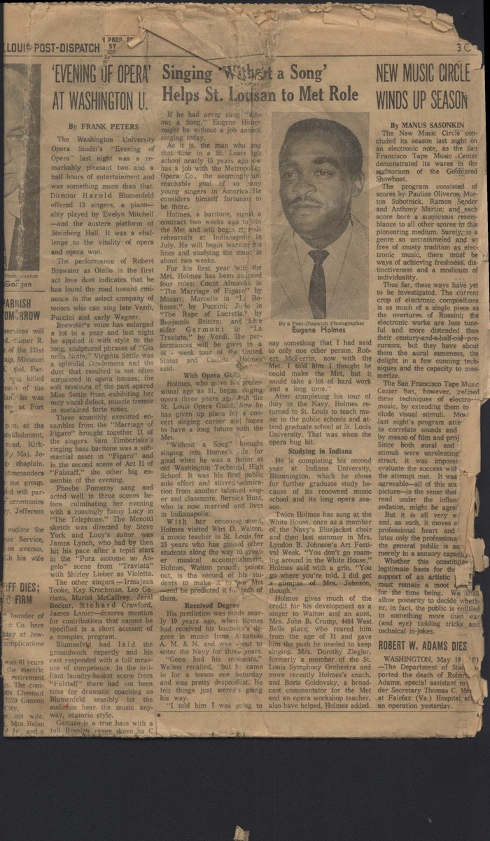 St.Louis Post Article Circa Early 1960's