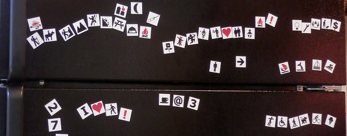 Symbol phrases on fridge