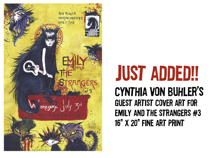 "$150 REWARD: Cynthia von Buhler's guest artist cover art for ""Emily and the Strangers #3"" 16"" x 20"" fine art giclee print"