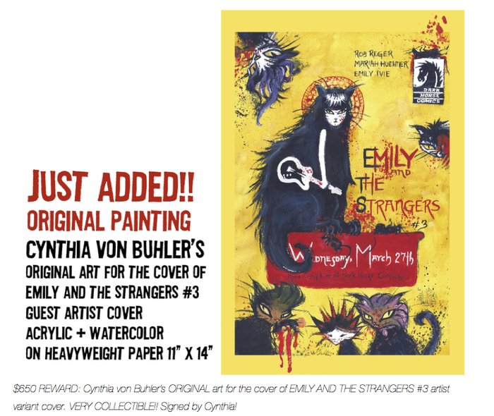 "$650 REWARD:  Cynthia von Buhler's ORIGINAL painting for the cover of EMILY AND THE STRANGERS #3 artist variant cover. 11"" x 14""  VERY COLLECTIBLE!!! Thanks Cynthia!"