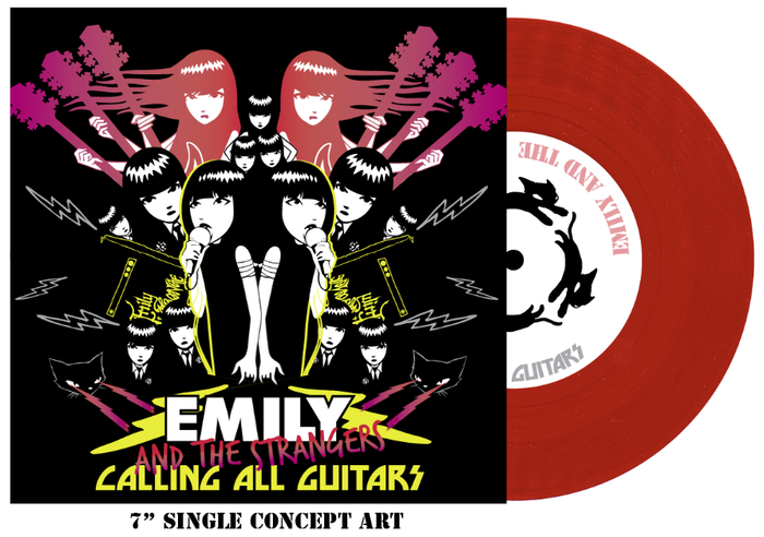 "CONCEPT for the 7"" RECORD cover art. RED VINYL. Check out the CATS that will be running in circles on your turntable!!"