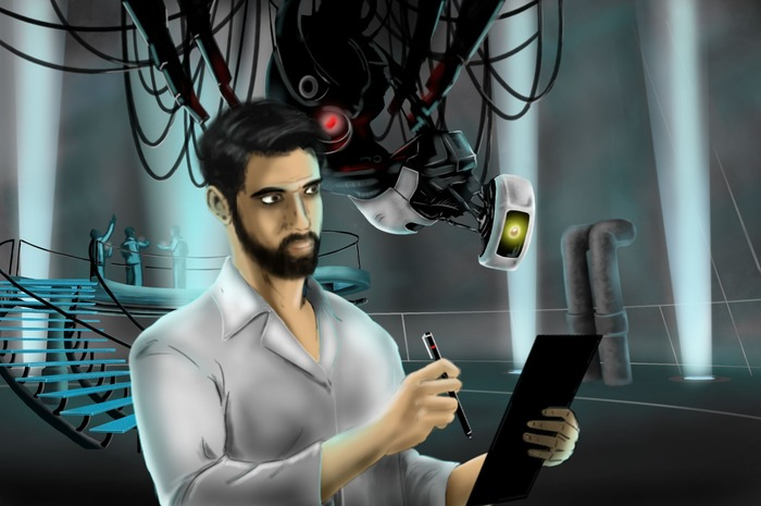 """Doug and GLaDOS"" Original Concept Art by Nick Gonzalez"