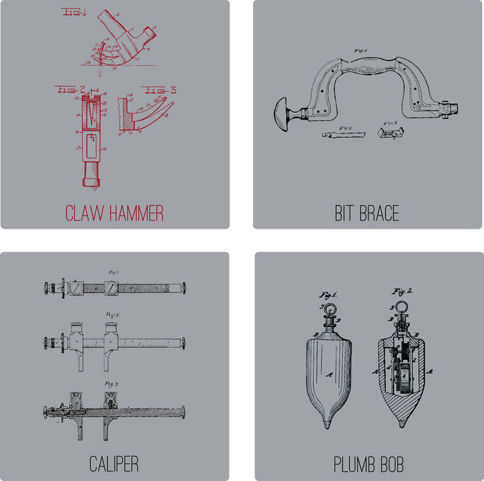 Show your support with a t-shirt. Pick a design based on the original patent art of our favorite tools: the claw hammer, bit brace, caliper and plumb bob. Shirts will be heather grey with oxblood graphics (see claw hammer image for example).