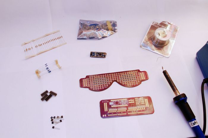 Some of the tools and parts used to create the glasses.