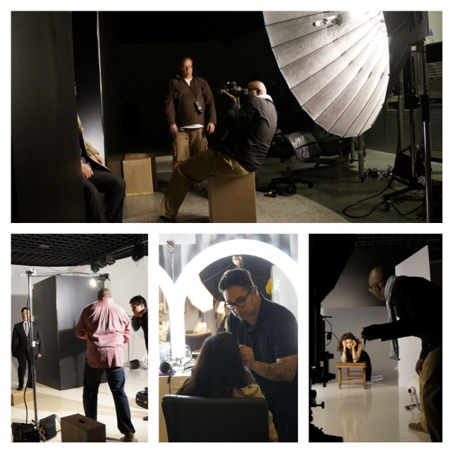 Behind the scene images of a shoot with Matthew