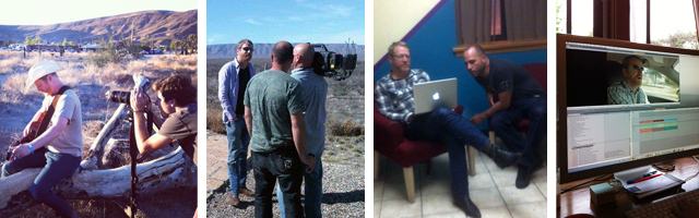 David in the desert; David in Texas; David & Michael talking about music rights; Editing time
