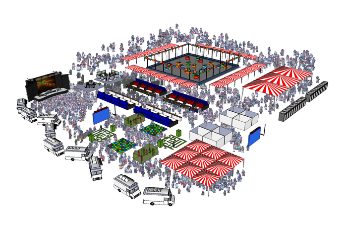 An early artistic rendering of a STEAM Carnival layout