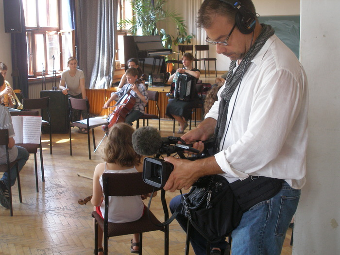 Scott hard at work filming a klezmer class at Krakow's Jewish Culture Festival