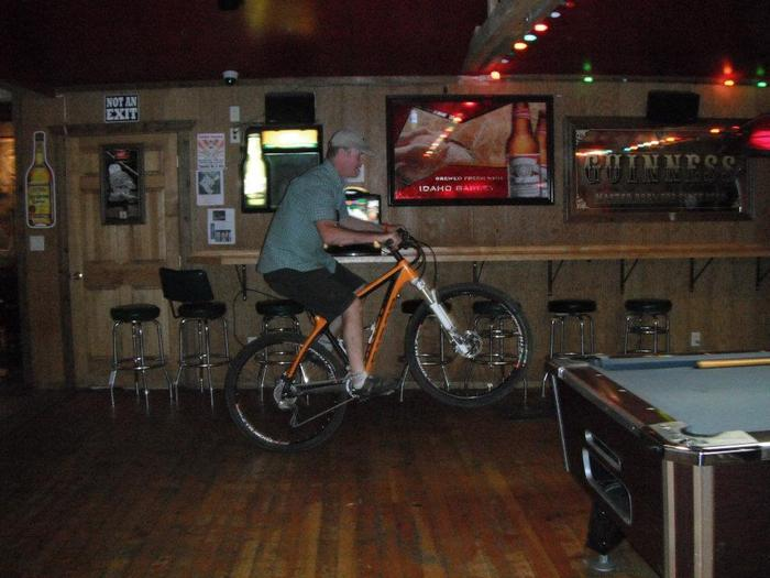 I was caught doing a wheely inside a restaurant in Driggs, Idaho. The owner was cool. I  had a lot of gear to carry on that trip!