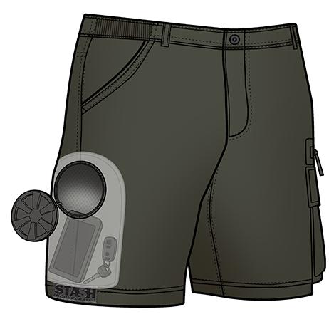 Stash Shorts - Olive Color (X-ray view of Stash Pocket inside)