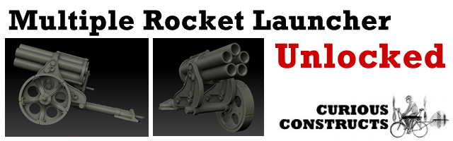 Multiple Rocket Launcher, based on the Nebelwerfer and designed by Faolan. This weapon requires an additional pledge to add to your reward.
