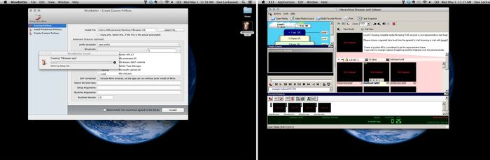 HBrowser being installed on a Mac using WineBottler and running smooth as butter.