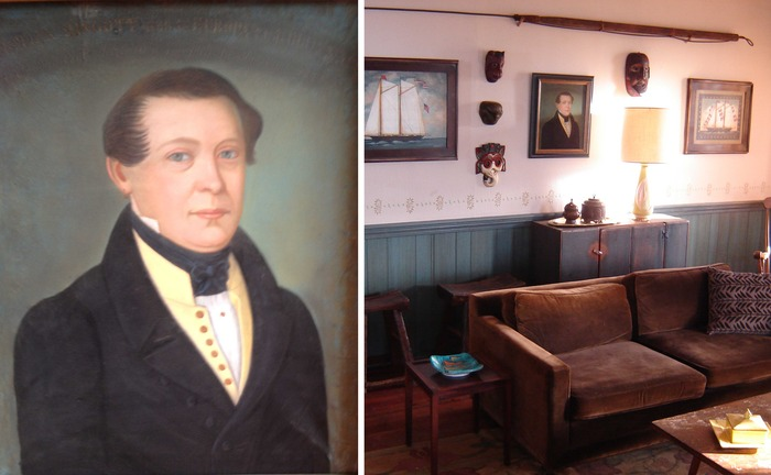 "An ""American Primitive"" Antique Original Painting from the mid-1800s of Captain Christian Hingott, as used in the film."