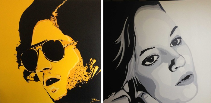 "Pop Art Oil Canvas Portraits of our young stars: Danielle Savre (right) and Josh Peck (left). Each painting is 47.5"" x 47.5."""